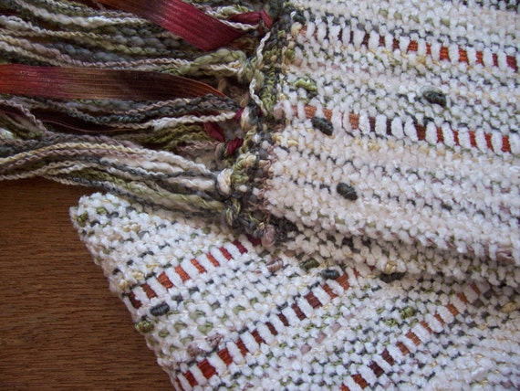 handwoven scarf winter white spice