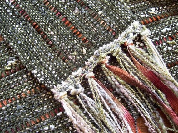 handwoven scarf sage spice long