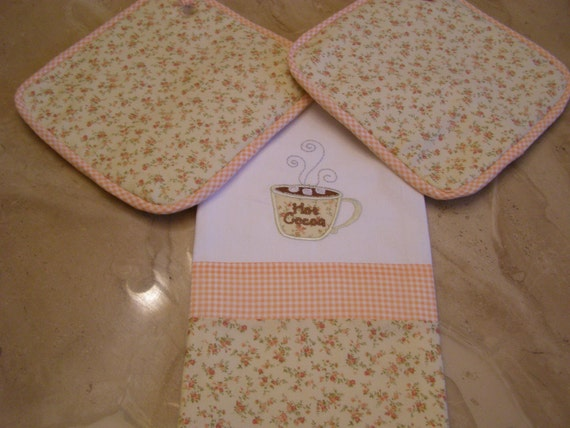 Hot Cocoa  Towel and Potholder set Handmade Appliqued