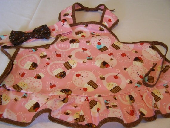 Cupcake  toddler apron with matching headband  handmade