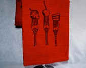 Embroidered Red Waffle Weave Dish Towel - Dessert