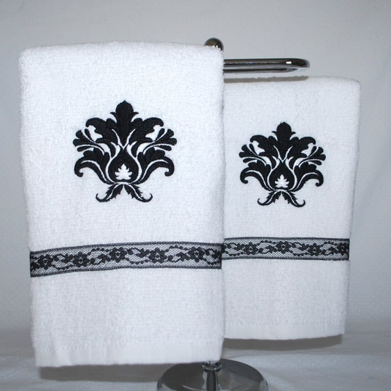 Reserved For Lynn Embroidered Bathroom Hand Towel Set Black