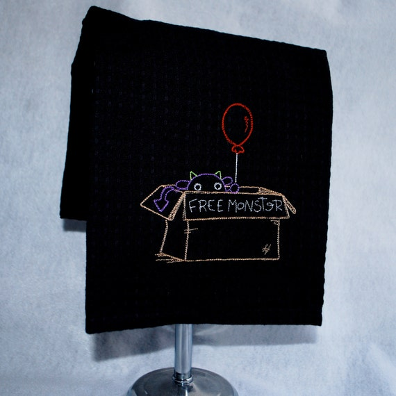 Embroidered Black Waffle Weave Dish Towel - Free Monster