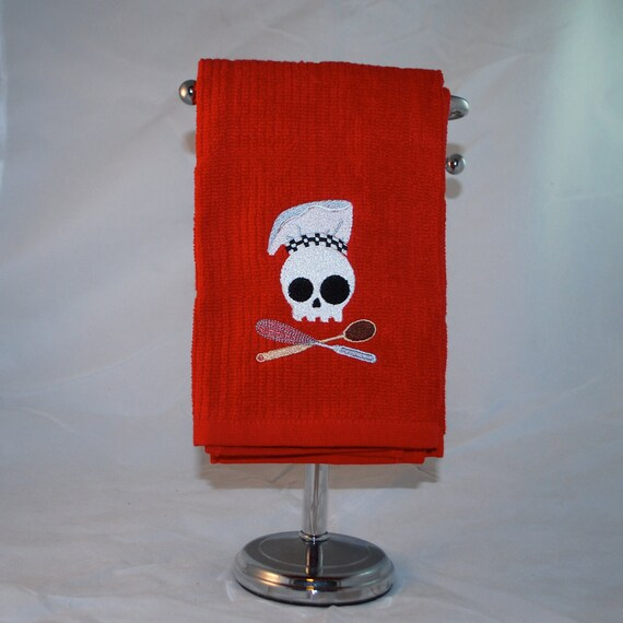 Embroidered Red Kitchen Dish Towel - Skull Chef