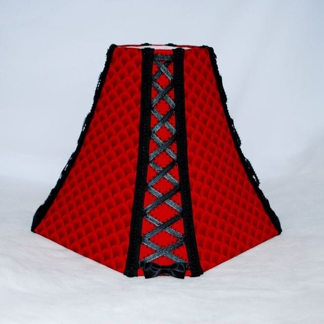 red and black corseted lampshade 30 percent off. Black Bedroom Furniture Sets. Home Design Ideas