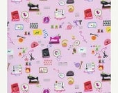 blackfridaycybermonday 1 Fat Quarter - Timeless Treasures - Tiny Town - Little Sewing