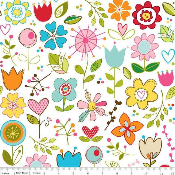 "Riley Blake Designs ""Sunny Happy Skies"" by Bella Blvd White Main - 1/2 Yard"