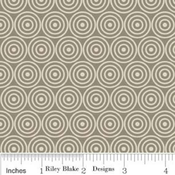 Riley Blake Designs Gray Alphabet Soup Circles -  Clearance 1 Yard