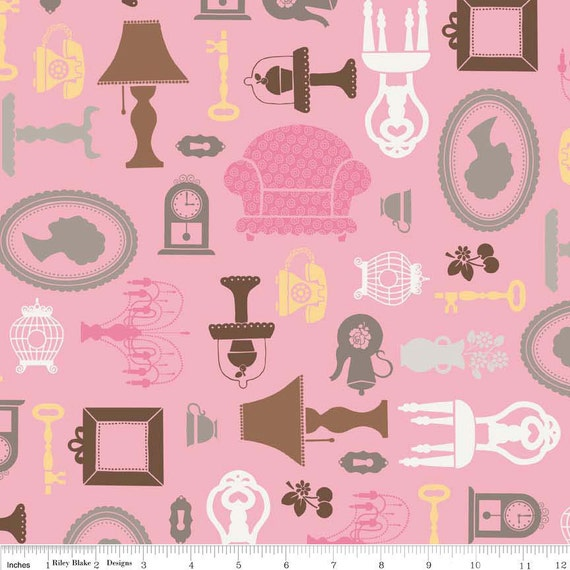Daisy Cottage Pink Furniture - Clearance 1/2 Yard