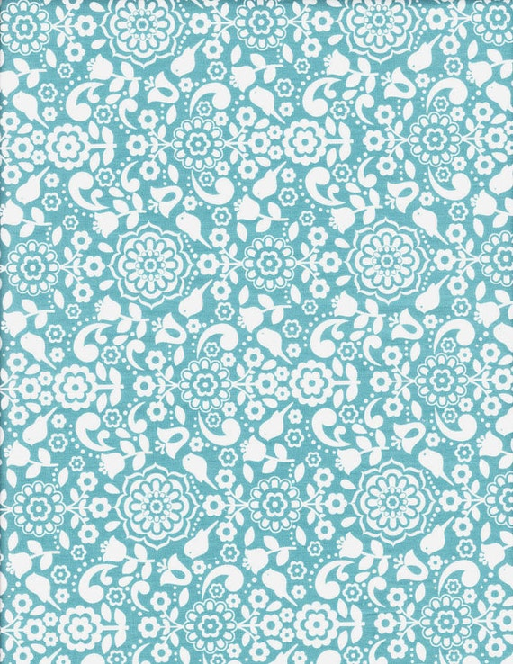 Anthology Fabrics Bonjour Blue Floral - Clearance 1/2 Yard