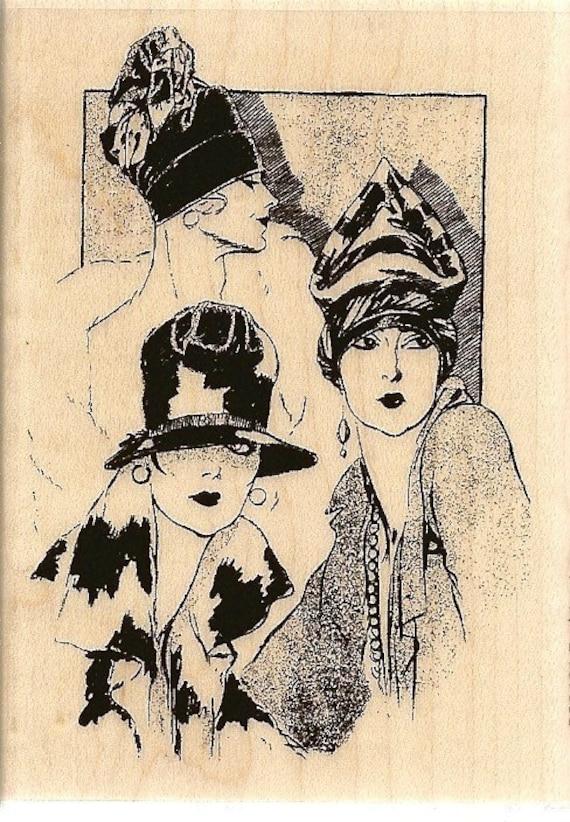 Hampton Art Fashionista Rubber Stamp Ladies In Hats