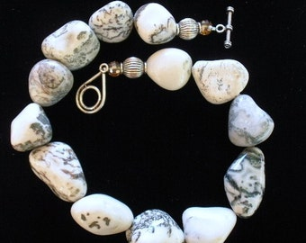 Chunky Moss Agate Stone Necklace