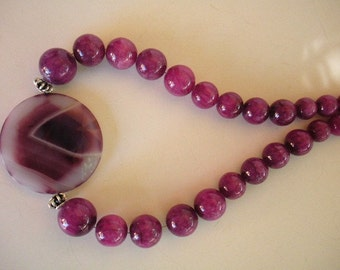 Purple Passion Necklace with Large Round Pendant