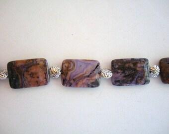Purple Crazy Lace Stone and Sterling Bracelet