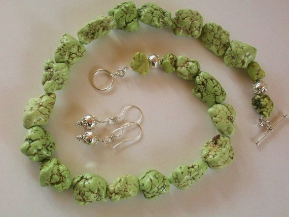 Green Apple Turquoise Nugget Necklace