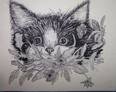 SET 6 ORIGINAL PEN AND INK NOTE CARDS - CAT IN FLOWERS - Perfect gift for your cat lover friend or for yourself