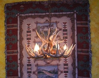 Brand New 23 Inch Whitetail Antler Chandelier with Center Down Light