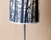 Table lamp Forest shade B&W photography printed on silk final sale