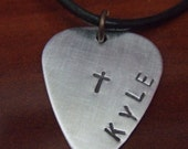 Cross Necklace, Name Necklace, Guitar Pick Necklace, Rustic Cross Necklace, Personalized Cross Necklace, Religious Gift, Confirmation Gift