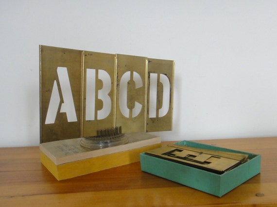Vintage Brass Interlocking Stencil Set