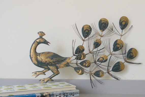 Vintage Peacock Metal Wall Hangings Set Of Two By Bouquet