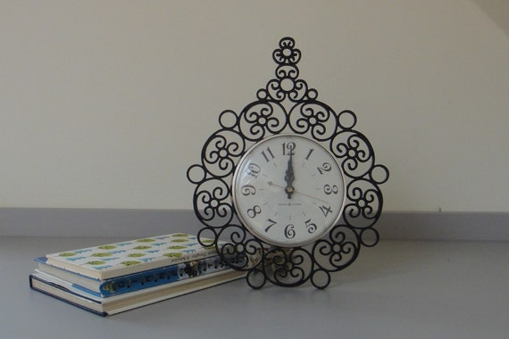 Vintage Black Scroll Decorative Wall Clock by General Electric
