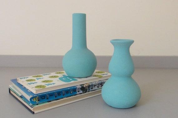 Vintage Teal Blue Mid Century Vases - Set of Two