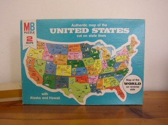 Bradley (IL) United States  City new picture : Vintage Double Sided United States Map Puzzle Milton by bouquet