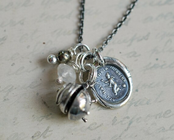 witch wax seal and cauldron locket cluster charm necklace… all have their hobbies ~ bewitching wax seal jewelry
