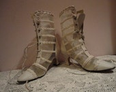 RESERVED FOR KIMBERLEY Holub White Net Braid and Leather Wedding  Boots   Size 8 5m womens
