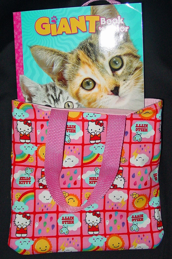 Child Tote Bag - Hello Kitty Pink Reversible Tote Bag with Coloring book