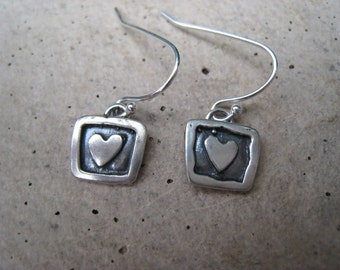 Tiny Square Heart Sterling Silver Earrings