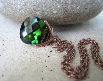 Forest Green Necklace, Swarovski Crystal, Antiqued Copper, Olivine Sphinx, Autumn, Fall, Irisjewlerydesign, Fall Fashion