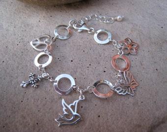 Girls' Silver Charm Bracelet