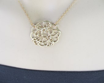 Abstract Gold Necklace, Filigree Gold Necklace, Gold Flower Necklace, Everyday Necklace, Irisjewelrydesign