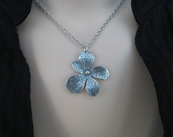 Silver Flower Necklace, Daisy, Sterling Silver, Rhodium, Oxidized, Larger Version, Irisjewelrydesign
