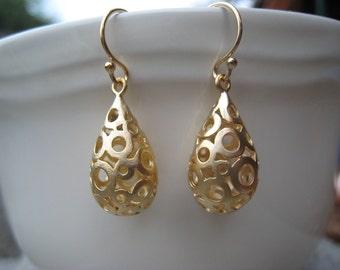 Modern Gold Drop Earrings, Gold Teardrop Earrings, Gold Bubble Earrings,Fashion, Gold Drop Earrings, Fashion, Irisjewelrydesign