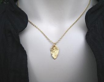 Gold Vermeil Leaf Necklace, Fall Fashion