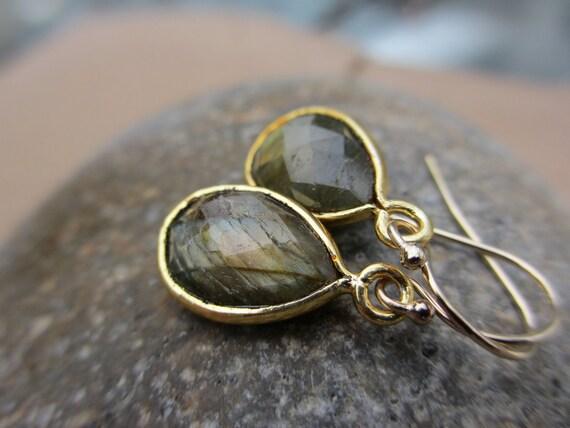 Labradorite Earrings, Gold Flash, Gold, Teardrop, Everyday Earrings, Green Gold Flash, Gold Flash, Irisjewelrydesign