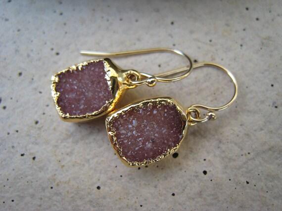 Druzy Earrings, Berry, Pink, Purple, Gold, Gift for Her, Irisjewelrydesign