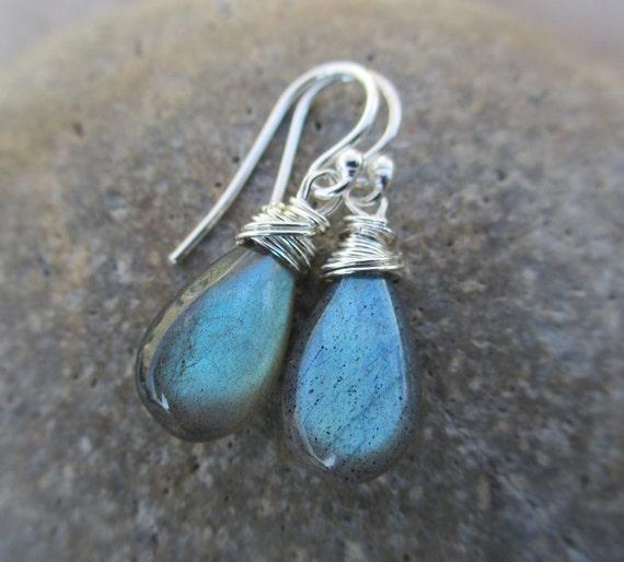 Labradorite Earrings - Sterling Silver, Aqua, Blue, Blue Green, Wire Wrapped, Irisjewelrydesign
