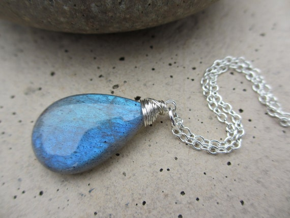 Labradorite Sterling Silver Necklace, Wire Wrapped, Blue Flash, Blue Green, Aqua, Large, Blue Necklace, Irisjewelrydesign, Fashion