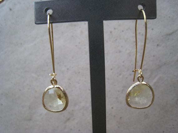 Citrine Glass Long Gold Earrings,Yellow Earrings, Elongated, Gold Bezel, Faceted, Irisjewelrydesign, Fall Fashion