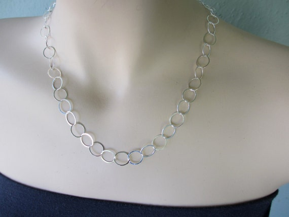 Oval Silver Necklace, Sterling Silver Necklace, Circle Silver Necklace, Silver Circle Link Necklace, Circle Chain Necklace