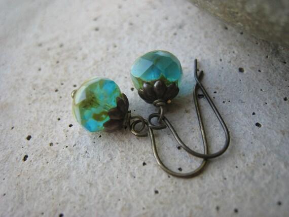 Czech Glass Earrings - Green,Turquoise and Aqua, Fall Fashion