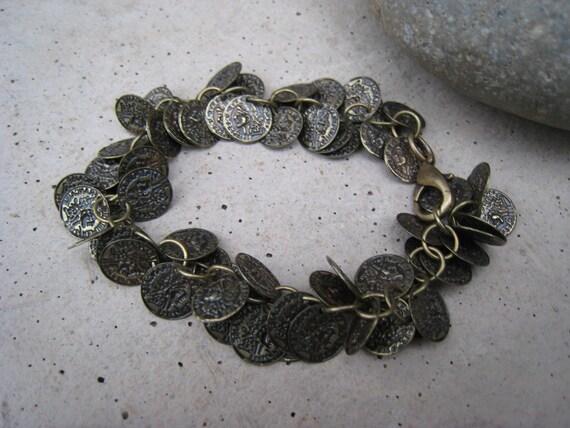 Antiqued Brass Coin Bracelet