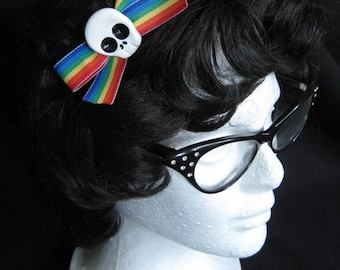 Medium Rainbow Skull Hairbow
