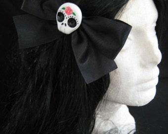 Large Black Sugar Skull Hairbow