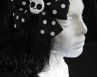 Large Black/White Polkadot Skull Hairbow