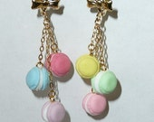 I <3 SWEETS Handmade French Macaroon Macaron Silicone Whipped Cream Pastel Pink Yellow Blue Green Purple Lavendar HEART Earrings
